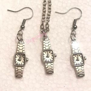 Silver Tone Watch Earring and  Necklace Set